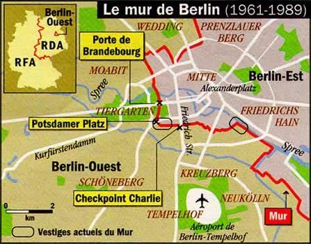 Carte du mur de Berlin